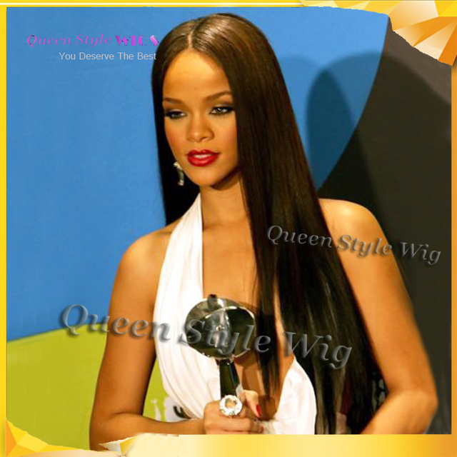 Hot Fashion Celebrity Rihanna Silky Hairstyle Wig Long Synthetic