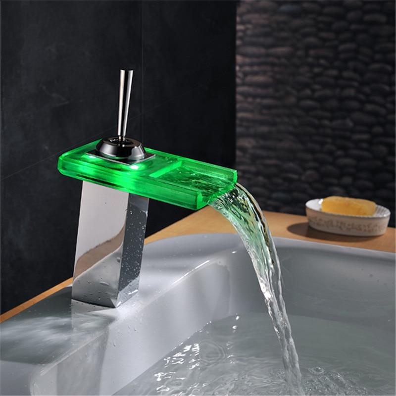 Self-powered eco-friendly Three-color Water Stream Temperature Sensitive LED faucet LD8005-002B ld8006 006b rgb three colors temperature sensitive metal water tap