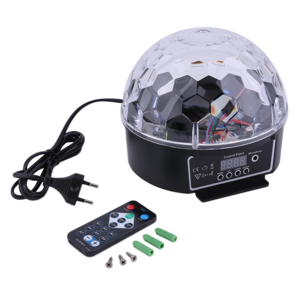 18W DMX Stage Light Sound Control Stage Light 6 Colors LED Magic Crystal Ball Lamp Disco Light Laser Wedding Party Lamp EU Plug 30w high power professional stage light butterfly laser light rgbw sound control 110 240v stage lamp