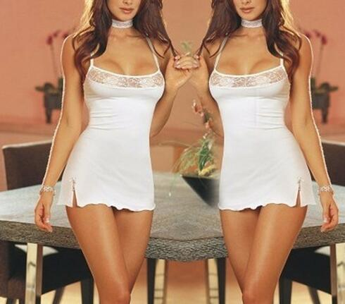 Charming Women Sexy Lace Nightgown Nightdress Stretch Bodycon Mini Dress Sleepwear Sexy Lingerie Nightwear (Color:White)
