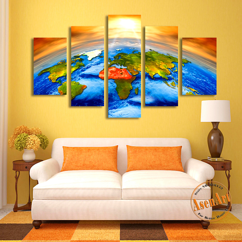 5 piece canvas art painting sunrise earth world map canvas for Piece of living room decor