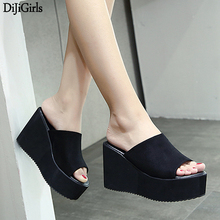 Women Shoes Wedges Ladies Slippers High Heel Summer Sandals Casual Black/White Beach Platform