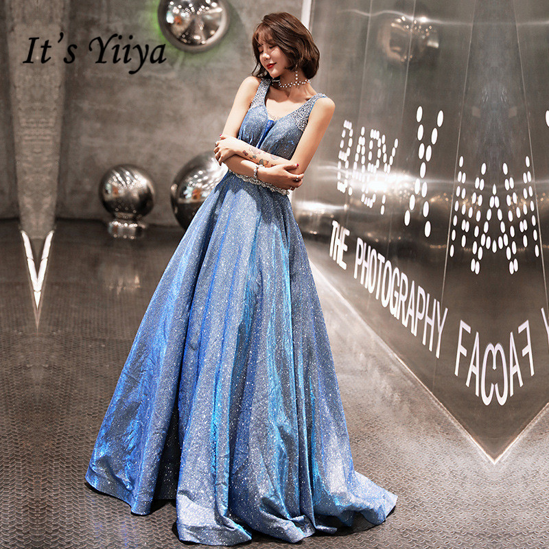 Train   Evening     Dress   V-neck Shining Crystal Little Bandage Long Party Gown Lace Up Blue Sleeveless A-line Formal Prom   Dress   E072