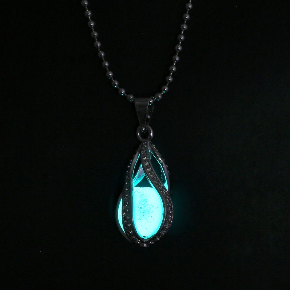 itm dark chic necklace little pendant jewelry glowing teardrop glow in heart hot the