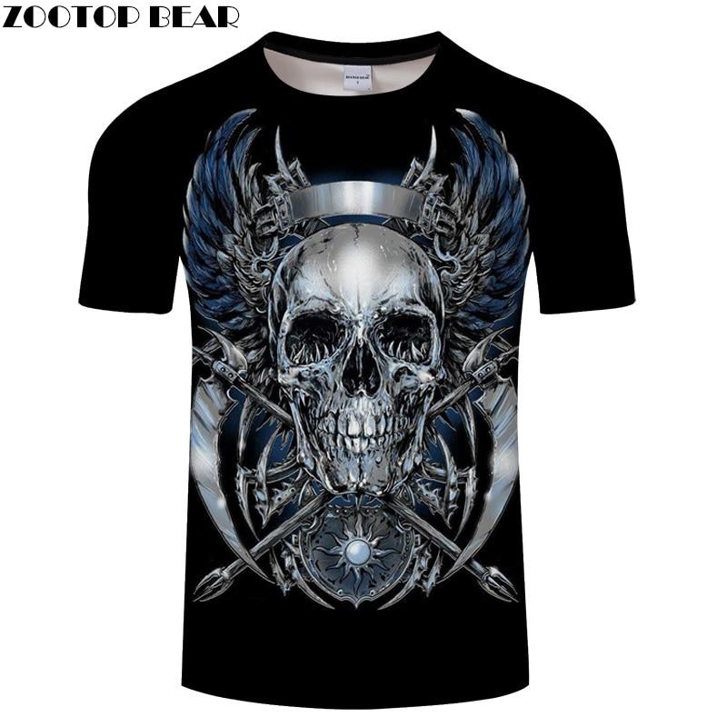 Iron Skull 3D tshirts Men Women t shirt Black Tee Print T-shirt Streatwear Tops Summer Short Sleeve O-neck Drop ship ZOOTOP BEAR