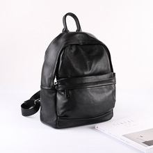 Women and Men Black Backpack Double Shoulder Bag 2016 New Genuine Leather Double Shoulder Bag Purse High Quality