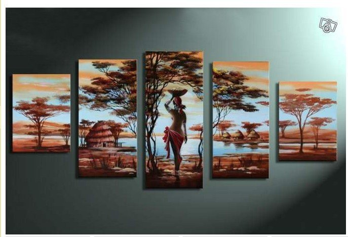 Free shipping handpainted 5 piece oil paintings on canvas for Africa express presents maison des jeunes