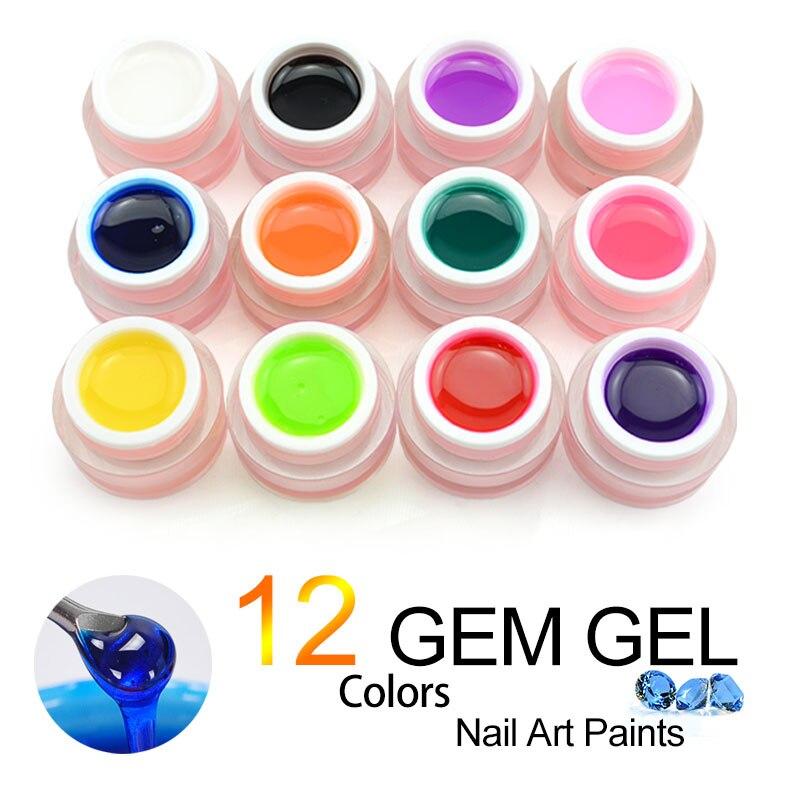 #40267 12 цветов Набор Gem гель прозрачная текстура 3D лунный свет гель 8 мл УФ светодио дный & led Soak Off Nail Art Гель заводская цена