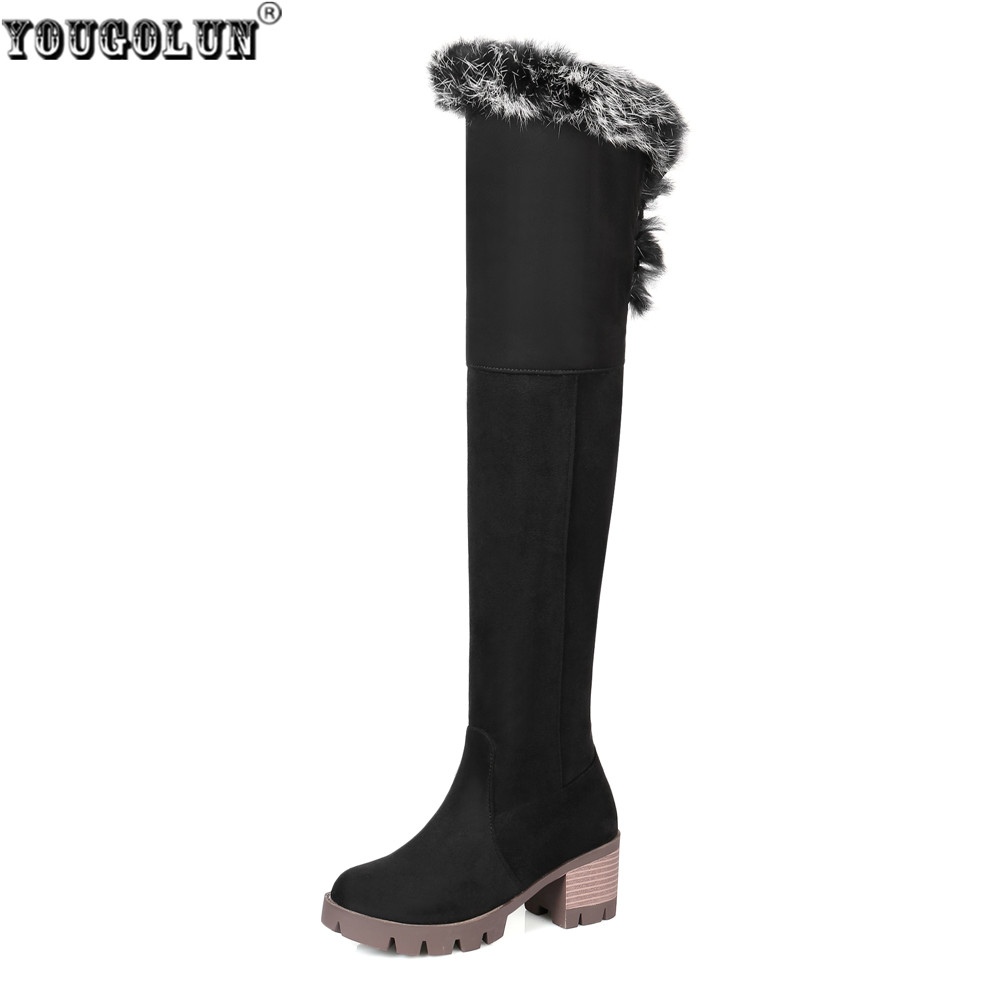 YOUGOLUN woman nubuck winter over the knee snow boots 2018 women thigh high boots ladies square heels thick plush warm shoes сетевой адаптер powerline tp link tl pa4010kit