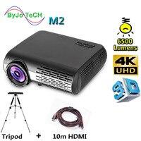 Poner Saund M2 LED 4K 2K FULL HD projector 6500 Lumens 3D Home Theatre Support HDMI USB VGA AV Vs led9 100 inch curtain Optional