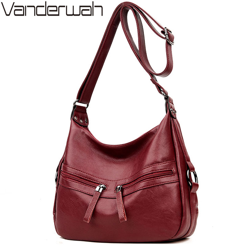 VANDERWAH Brand Soft Leather LUXURY bags handbags women famous brands Solid Double Zipper Bag casual Tote For women sac a main vanderwah lady top handle bags handbags women famous brands female embroidery casual big shoulder bag tote for girls sac a main