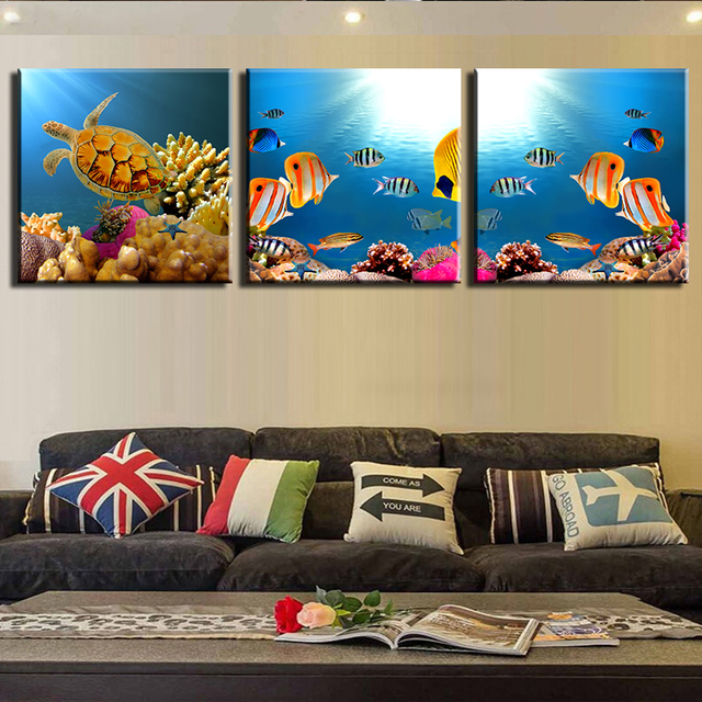 3 Wall Pictures Combination Painting Print On Canvas The Sea Fish ...