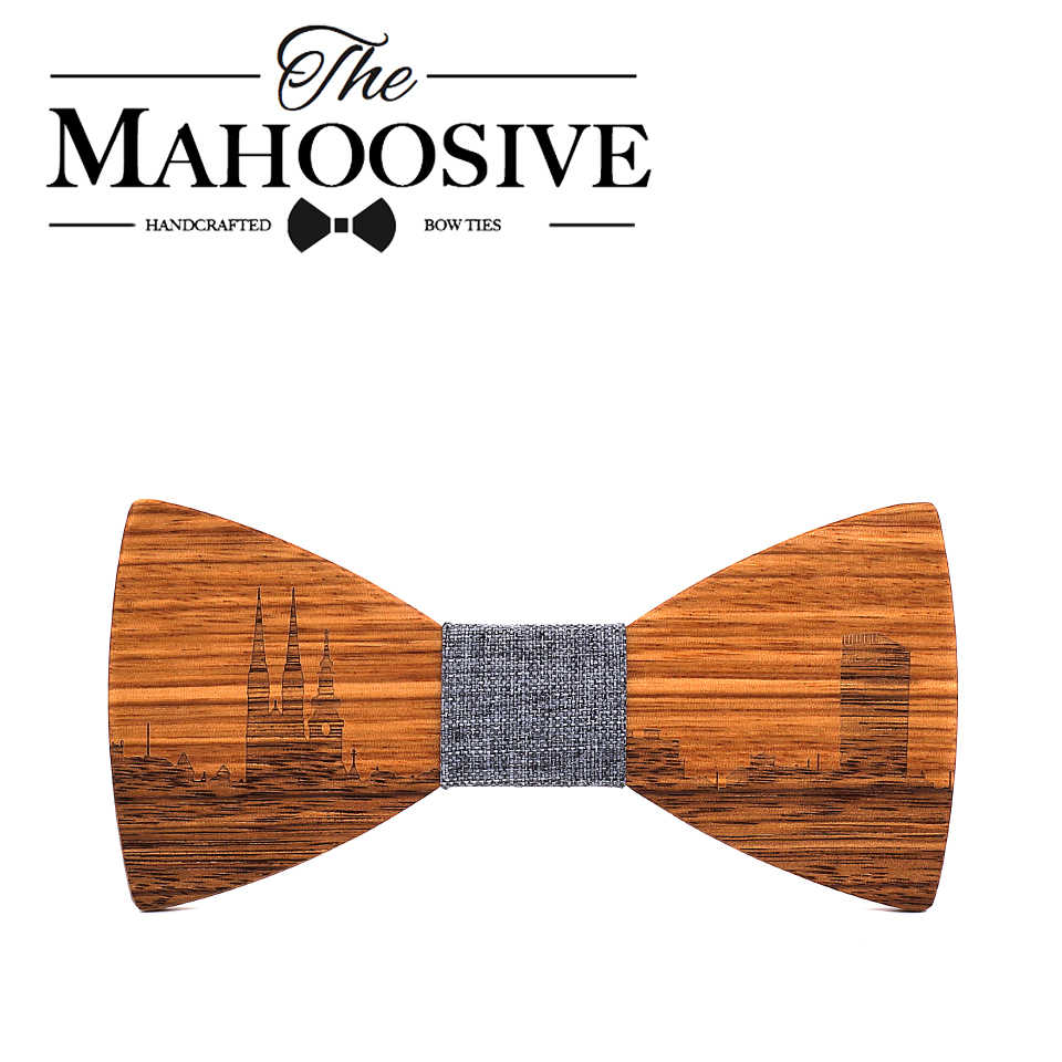 Fashion Striped Tie Wood Carving Rosewood Cloth Business Men Bow Ties Wooden Bow Tie Mens and Womens Necktie
