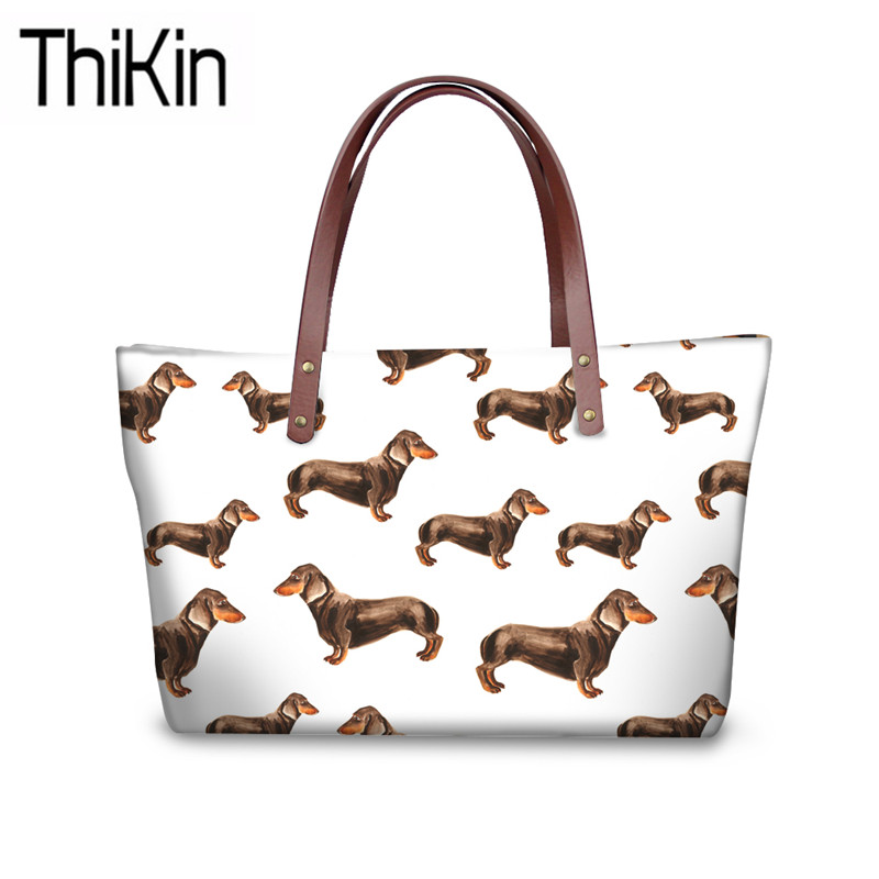 THIKIN Doxie Dog Printing Shoulder Bags For Women Luxury Design Handbags Ladies Dachshund Pattern Top-Handle Bag Females Handbag