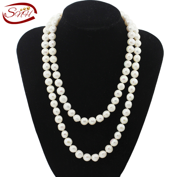 SNH 10-11mm off round AA- grade 100cm white freshwater pearl necklace  long necklace for womenSNH 10-11mm off round AA- grade 100cm white freshwater pearl necklace  long necklace for women