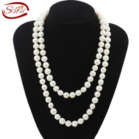 SNH 11 12mm Near Round AA Grade White Freshwater Pearl Necklace 100cm Fashion Long Necklace For