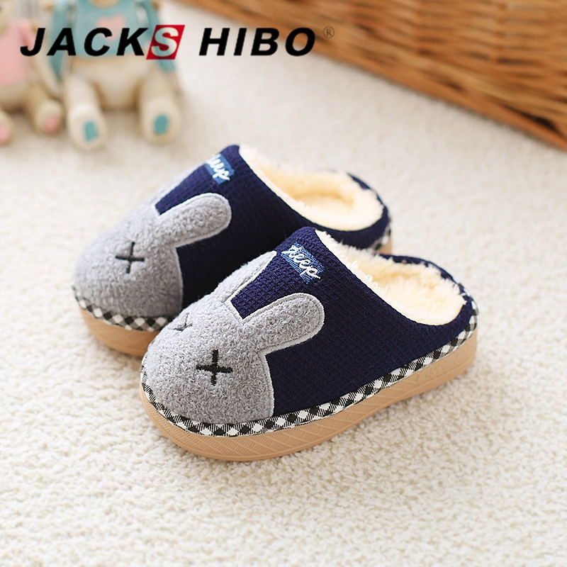 JACKSHIBO Winter Kids Slippers Child Winter Home Slippers Cartoon Bunny Slipper for Girls Boys Warming Indoor Shoes Unisex