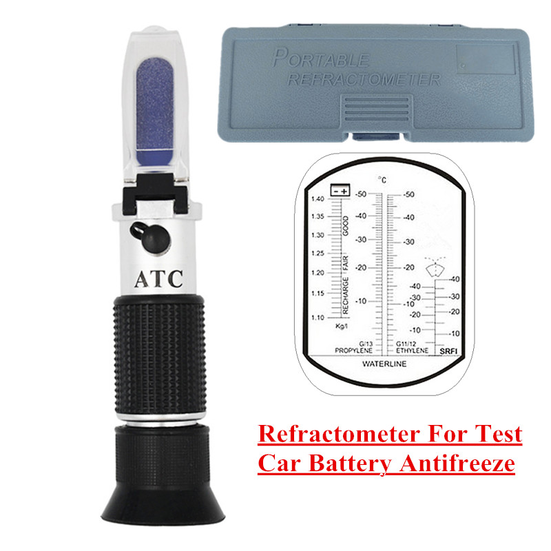 Retail Box Hand Held Engine Fluid Glycol Point Refractometer With ATC Tester Tool Car Battery Antifreeze Freezing 40% off fast arrival lcc3t antifreeze freezing analyzer battery fluid hydrometer
