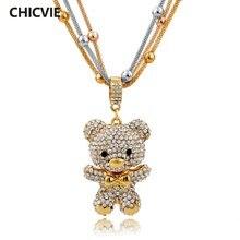 Chicvie золотистые Яркие длинные ожерелья с кристаллами для