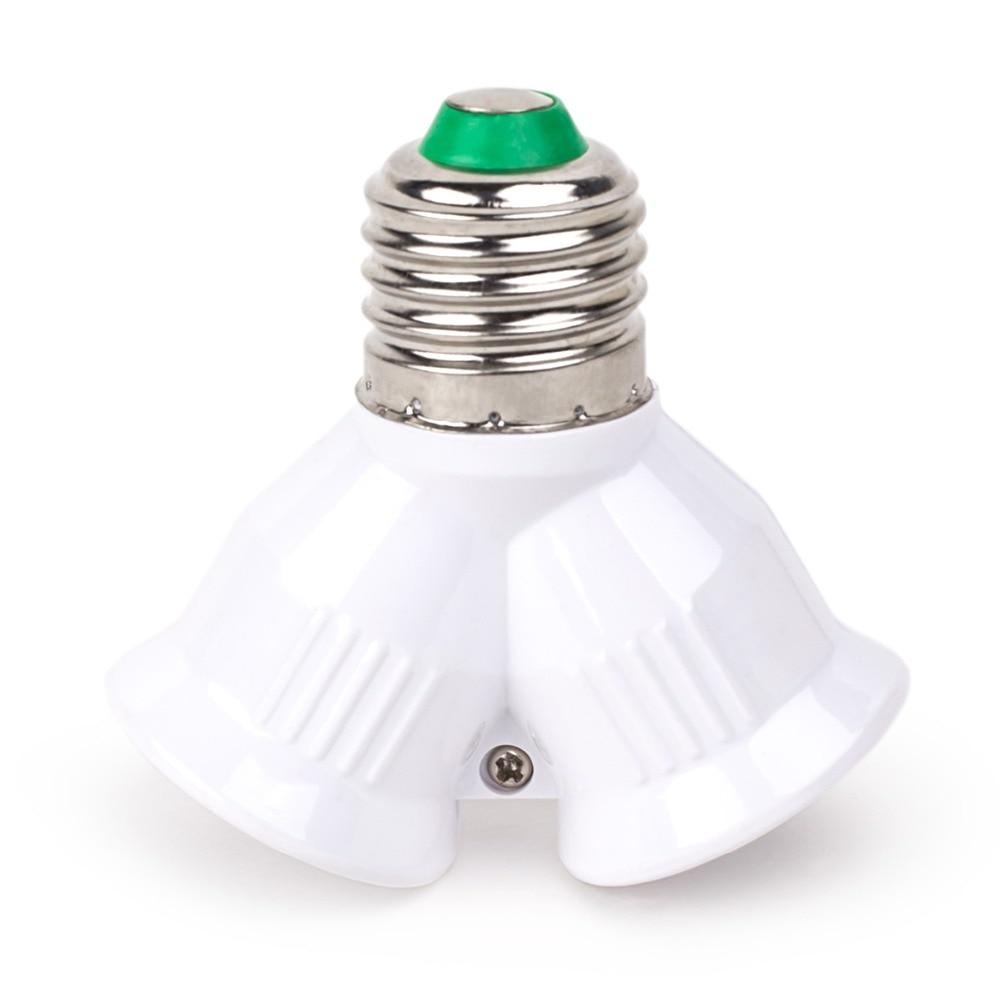 Brand E27 Splitter To 2 E27 Led Base Light Bulb Adapter Converter Screw Socket 1 To 2 Y Shape