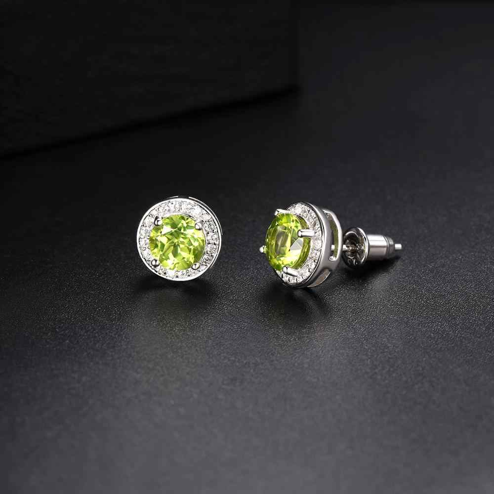 Hutang okrągłe kolczyki wykonane z 1.88ct naturalny kamień szlachetny Peridot stałe 925 Sterling Silver Crystal Fine Jewelry dla kobiet prezent