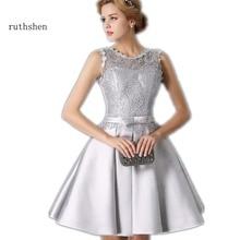 ruthshen Robe Bal De Promo Silver Gray Short Prom Dresses 2018 Lace Satin Knee Length Lace Up Back Cheap Vestidos Cortos De Gala