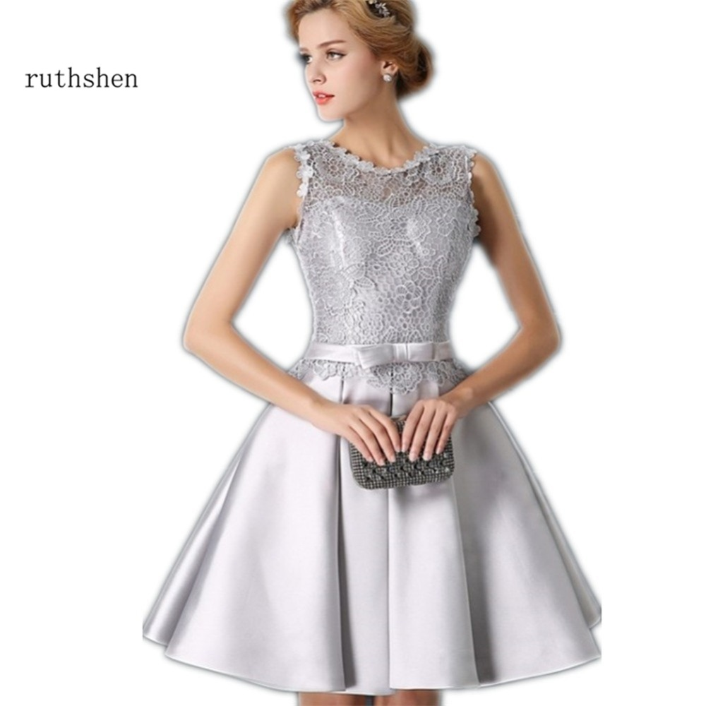 ruthshen Robe Bal De Promo Silver Gray Short   Prom     Dresses   2018 Lace Satin Knee Length Lace Up Back Cheap Vestidos Cortos De Gala
