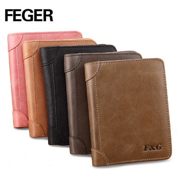Men Cowhide Vintage Retro Handmade Genuine Leather Cowhide High Quality Men's Short Wallets Brand Purse Man Card Holder FEGER