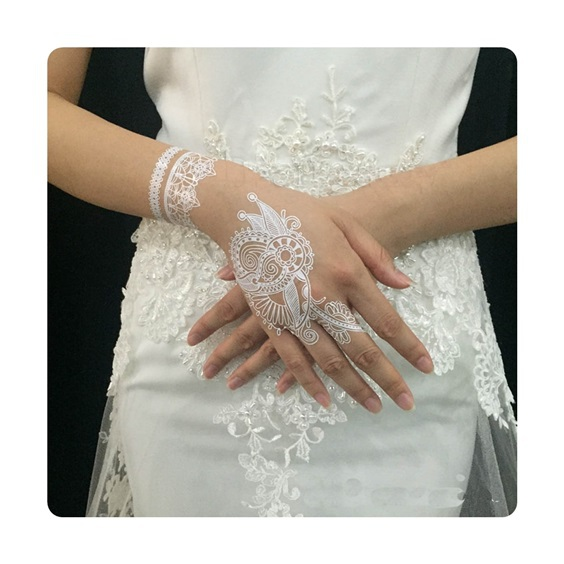 Free Shipping New Fashion Design White Henna Tattoo Paste Lace