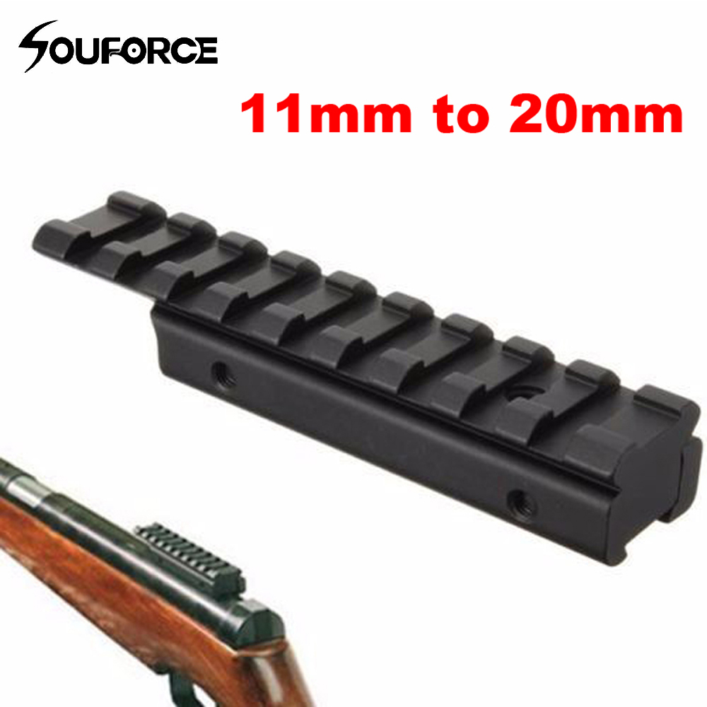 Dovetail Extend Weaver Picatinny Rail Adapter 11mm to 20mm Extensible Tactical Scope Bases Mount for Rifle/Air Gun Hunting-in Scope Mounts & Accessories from Sports & Entertainment