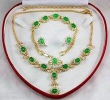 women's gift Green stone Necklace 18″ Bracelet 7.5″ Earring Ring Quartz Fine Plated Bridal wide watch wings queen