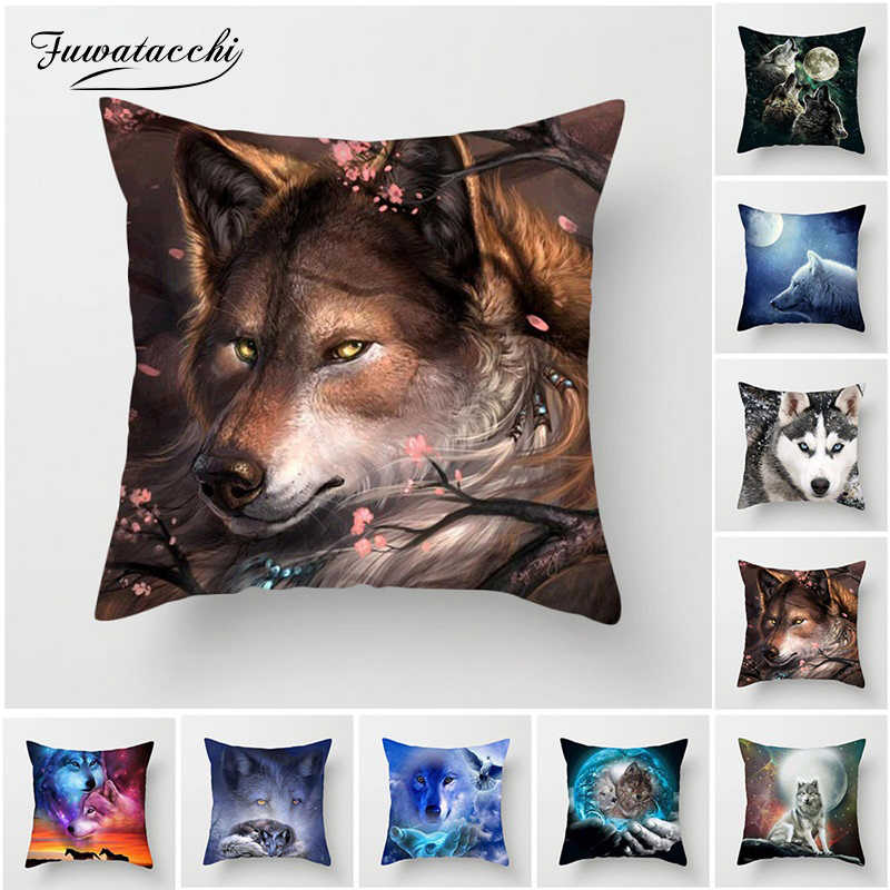Fuwatacchi 3D Fluorescence Wolf Cushion Cover Polyester Dog Tiger Animal Pillow Cover for Sofa Living Room Home Decor Pillow