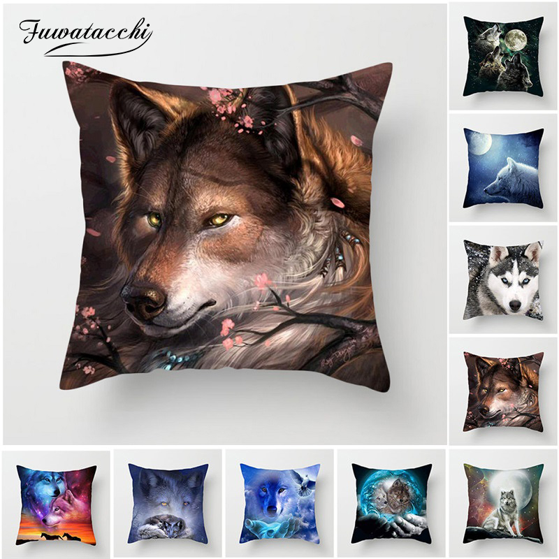 Fuwatacchi 3D Fluorescence Wolf Cushion Cover Polyester Dog Tiger Animal Pillow Cover for Sofa Living Room