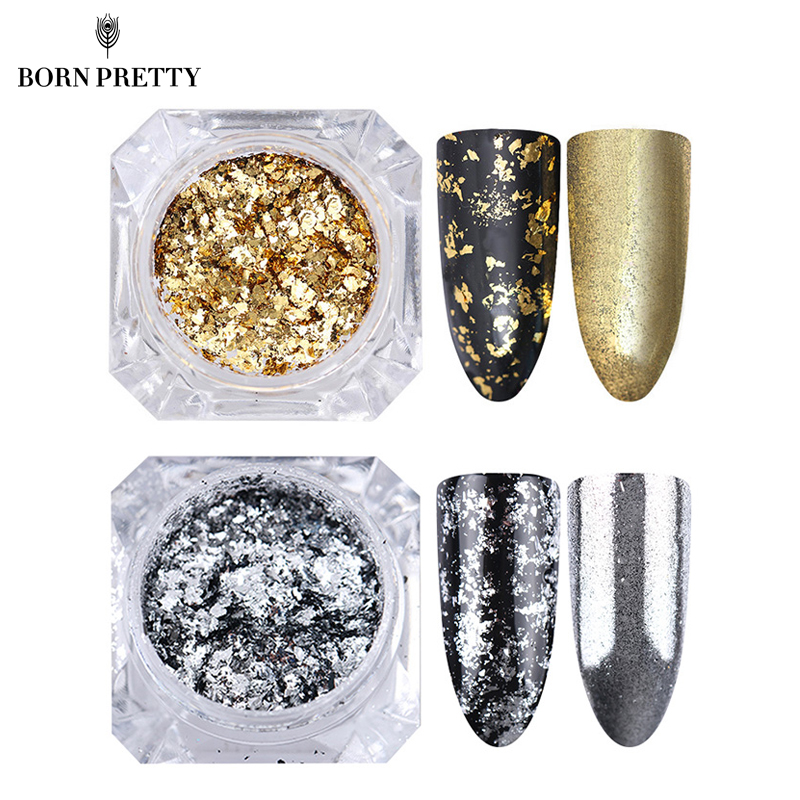 BORN FUNKT Sølv Gullflager Nail Aluminium Sequins 0.2g Bling Mirror Nail Glitters Powder Paillettes DIY Nail Art Decoration
