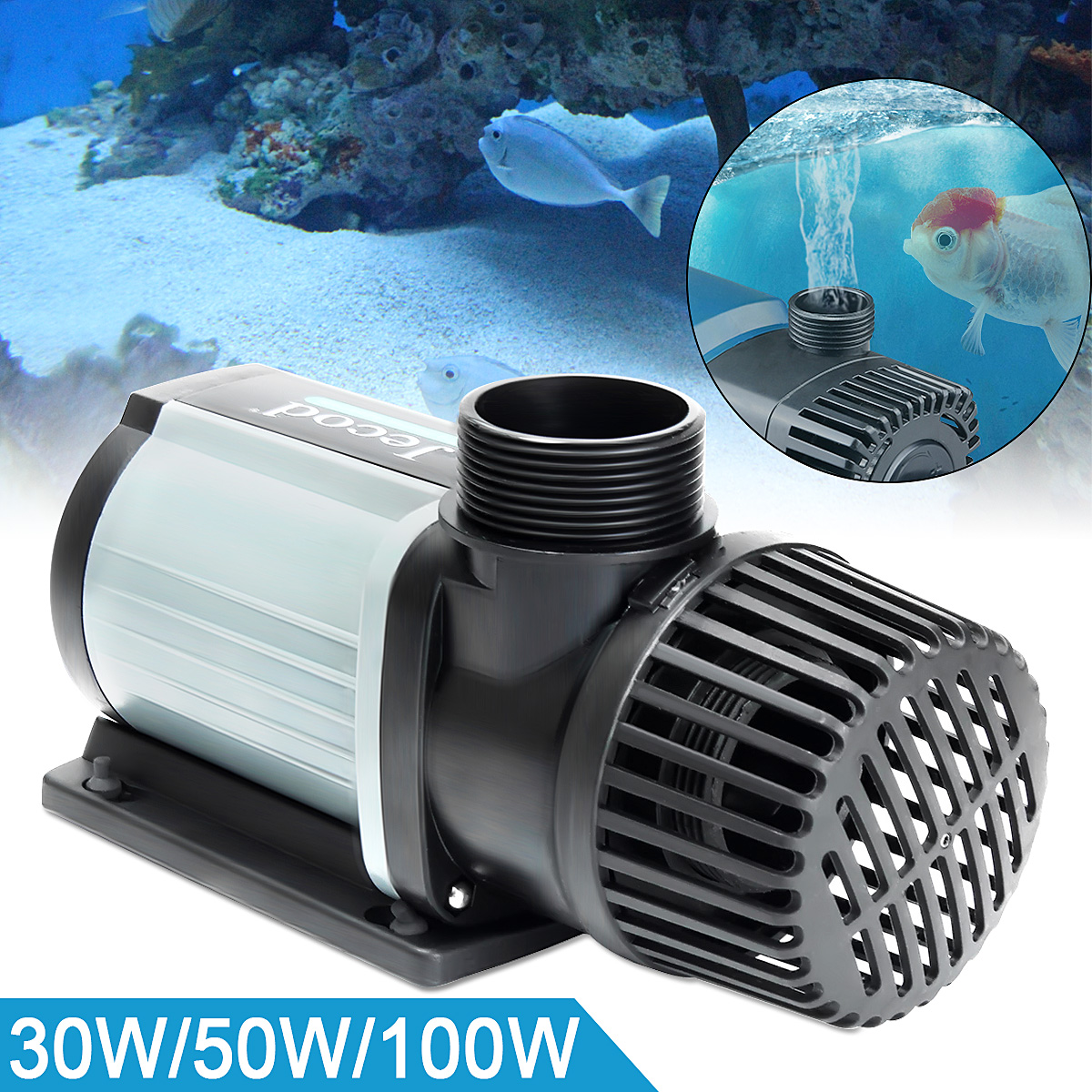30/50/100 W DC Marina acuario bomba sumergible 3000L funcionamiento súper silencioso flujo Variable controlador DCS 2000 -12000 con adaptador