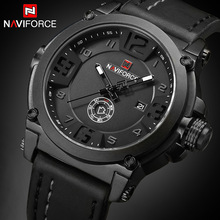 Mens Watches NAVIFORCE Top Luxury Brand Men Leather Analog Q