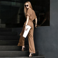 2017 New Better Updated Pants Elastic Waist Wide Leg Harm Pants One Whole Conjoined Pants Coffee