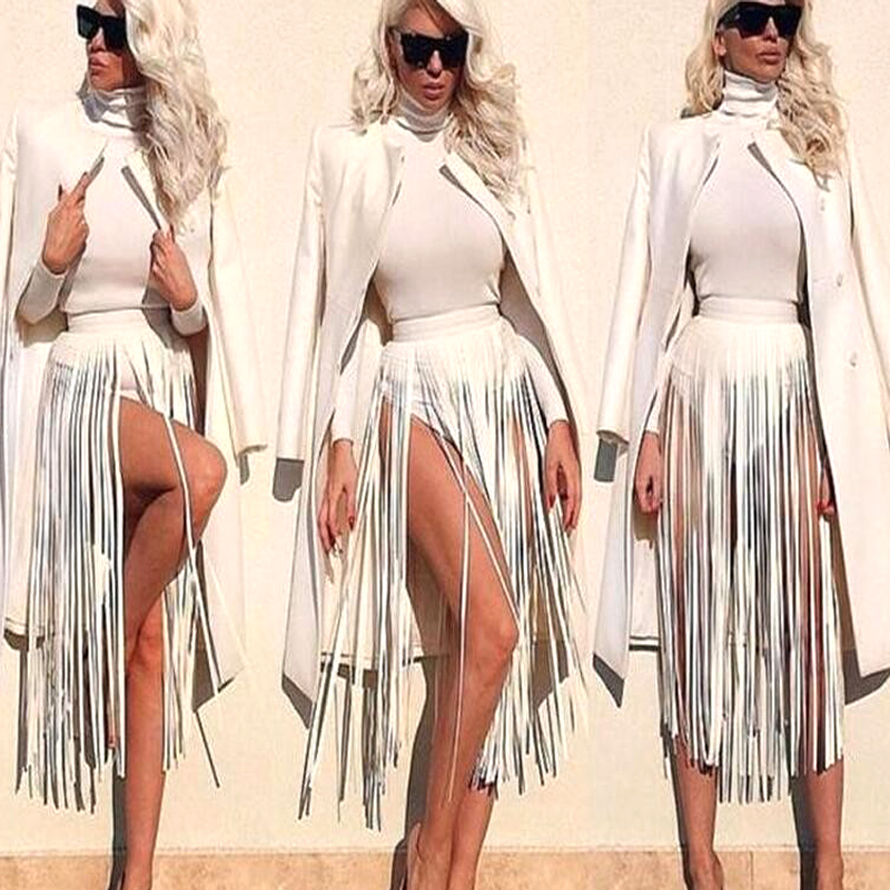 Nytt merke Hippie Boho Fringe Tassel Leather Ladies Belter Alle Matchende Kule High Waist Fashion Langt bred belte for kvinner
