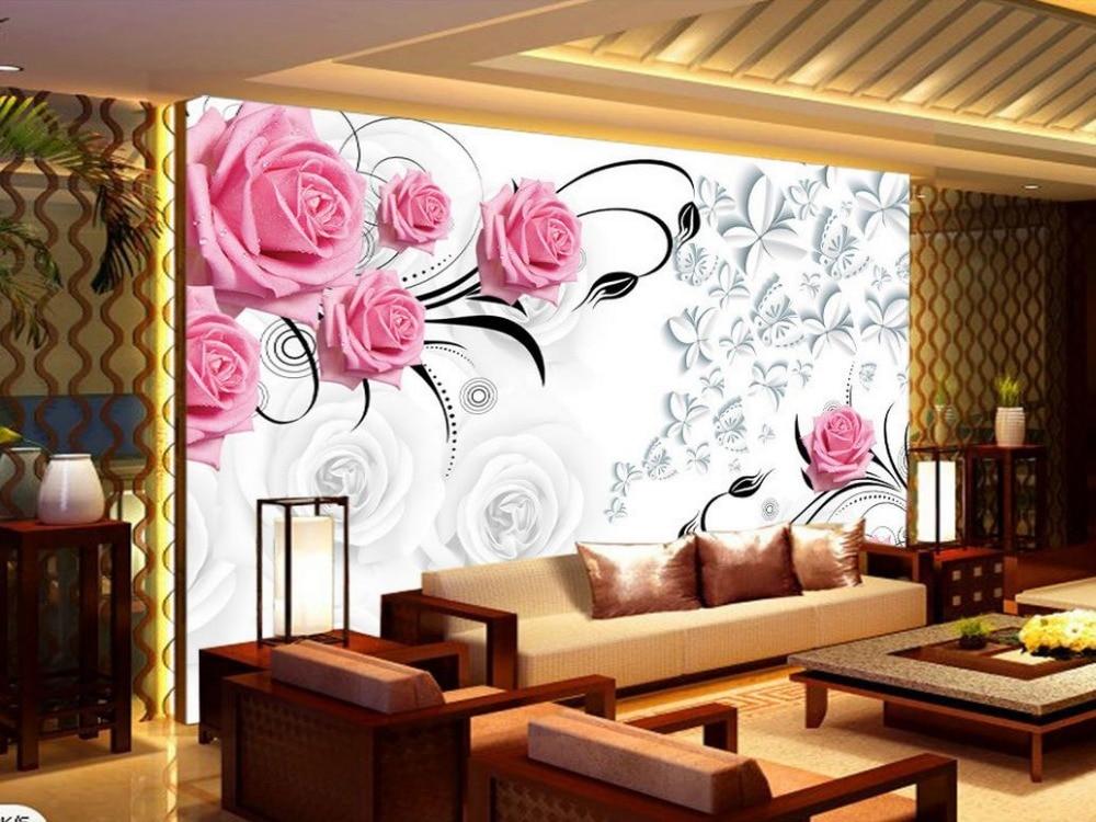 Living Room 3d Wallpaper aliexpress : buy pink rose 3d wallpaper flower wallpapers for