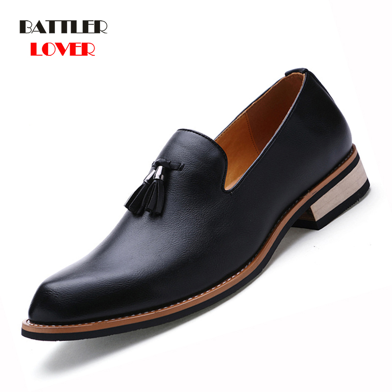 Men Leather Loafers High Quality Genuine Leather Shoes Classic Tassel Brogue Mens Formal Shoe Casual Bullock Dress Wedding Shoes