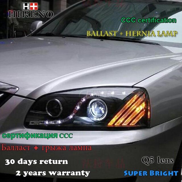 Hireno Headlamp for 2004-10 Hyundai Elantra Headlight Assembly LED DRL Angel Lens Double Beam HID Xenon 2pcs