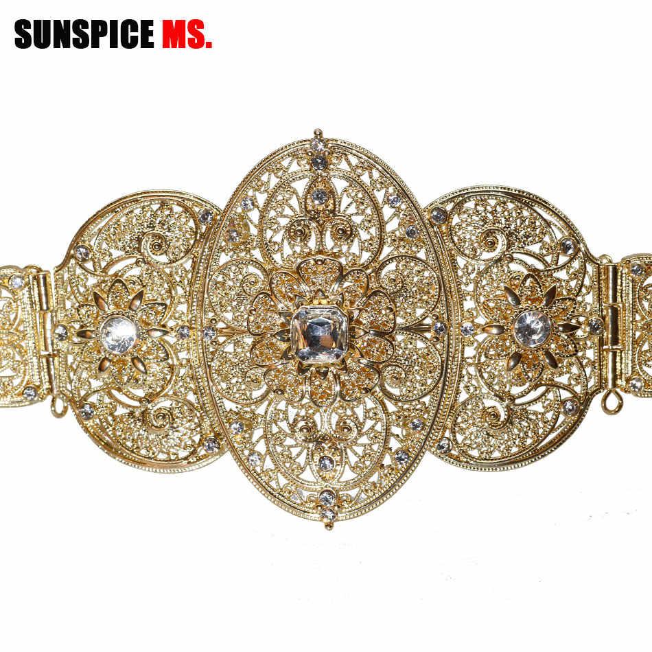 SUNSPICE-MS โมร็อกโก Caftan ทองเข็มขัดโลหะเอว Caucasus ผู้หญิง Silver Rhinestone งานแต่งงานเครื่องประดับ Belly โซ่ Movable หัวเข็มขัด