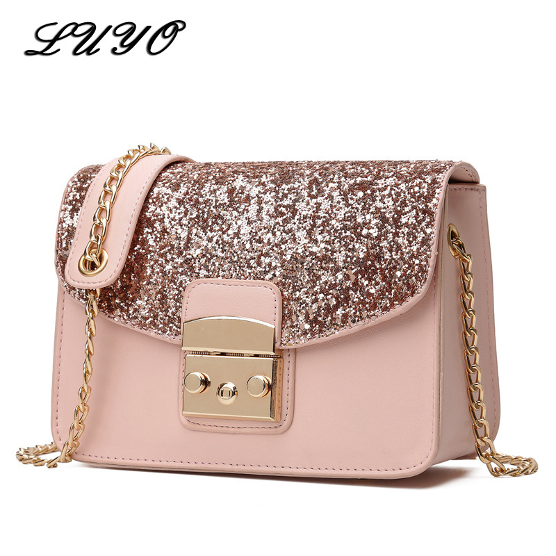 Luyo Women Sequined Messenger Bag Quality Leather Womens Flap Bag Chain Strap Female Shoulder Bag Lay Crossbody Bags For Girls