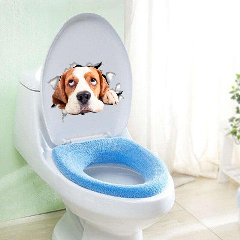 Cats Dog 3D Wall Sticker Bathroom Toilet Living Room Kitchen Decoration Animal Vinyl Art Sticker Poster 9