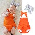 New baby девушки одежда летние Тонкие детские ползунки + Оголовье 2 шт. Новорожденный Девушки Одежда набор Комбинезон Roupas Bebes детская одежда