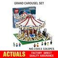 3263PCS Presale Lepin 15013 City Street Creator Carousel Model Building Kits  Blocks Toy Compatible 10196 Birthday