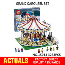 3263PCS Presale Lepin 15013 City Street Creator Carousel Model Building Kits Minifigure Blocks Toy Compatible 10196 Birthday