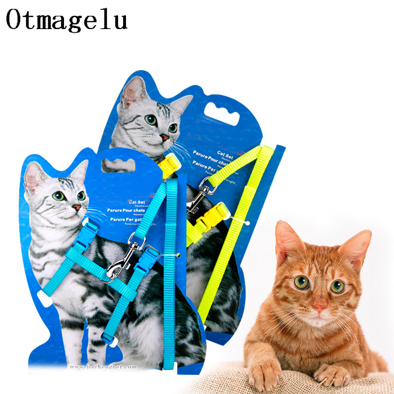 Professional Design Collar For Cat Adjustable Leash Nylon Pet Traction Kitten Halter Collar Cat Lead For Pet Harness Belt set