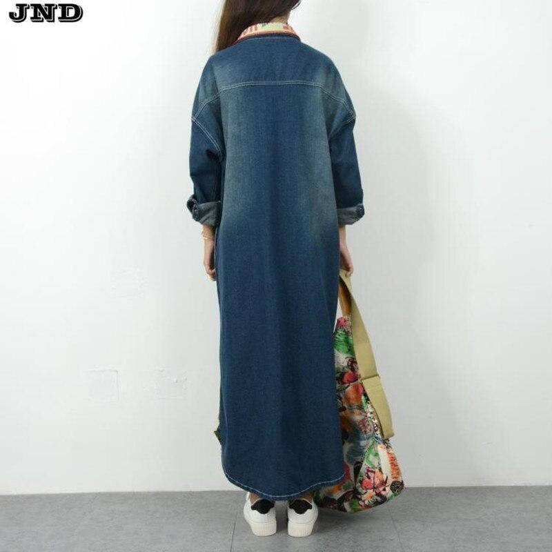 Kadın Giyim'ten Siper'de Ücretsiz Kargo 2019 Yeni Moda Denim Uzun Ceket Kadınlar Için Artı Boyutu Gevşek Kot Giyim Uzun Kollu Elbiseler Tek göğüslü'da  Grup 3