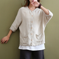 Solid Beige White Vintage Linen Women Blouse Shirt Plus Size Batwing Original Casual Shirts Blouse Linen
